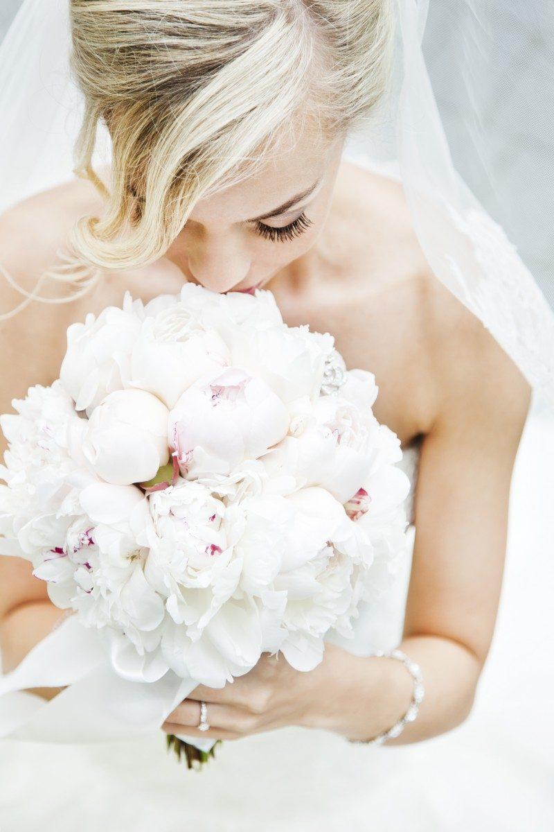 Weiße Pfingstrosen, white, pink, peonies, Bridal bouquet