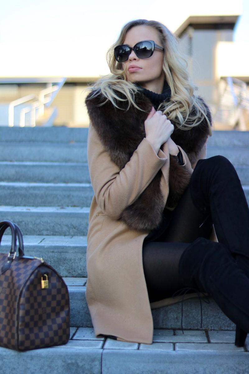 Outfit - Camel, Fur & Louis Vuitton