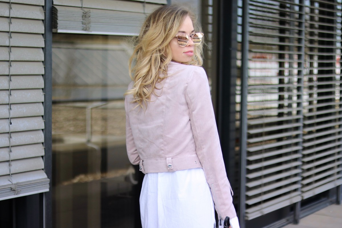 Spring Mood Outfit with pink suede jacket