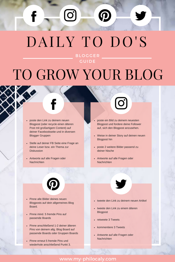 Daily To Do List, Blogger Guide, Social Media, Tipps
